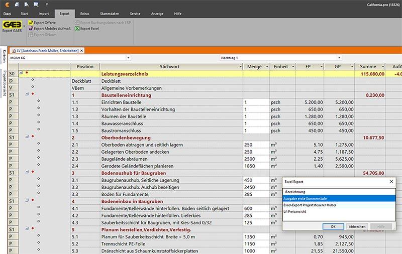 Bidirektionale Excel-Schnittstelle in California.pro
