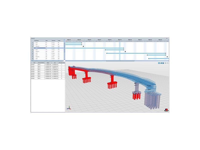 In Allplan Bridge lässt sich erstmalig auch der Bauablauf definieren. Dabei wird der Bauplan in mehrere Bauphasen und Aufgaben unterteilt. Bild: ALLPLAN Infrastructure