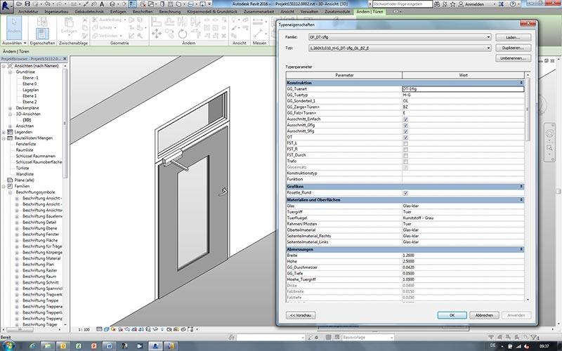 Komplettes Türsystem am Beispiel des CAD-Programms Revit. Foto: GEZE GmbH