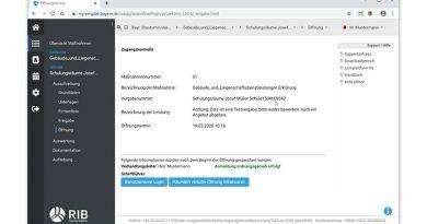 Die räumlich verteilte Öffnung bei der e-Vergabe macht Submissionen auch vom Home Office aus möglich. Screenshot: RIB Software SE