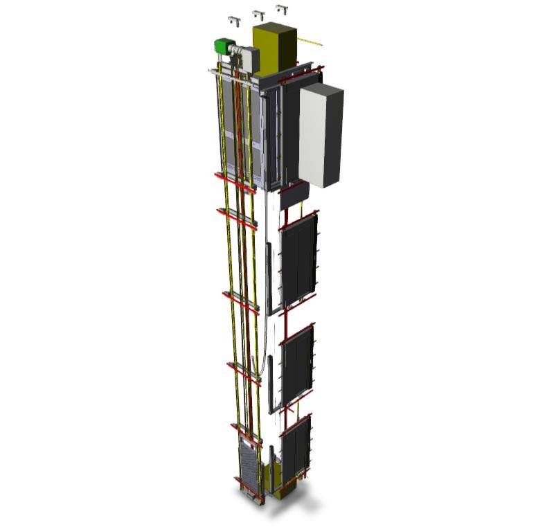 BIM-Modelle von Schindler-Aufzügen enthalten planungsrelevante Informationen wie zum Beispiel kon-krete Maße, einzuhaltende Sicherheitsabstände oder den Platzbedarf im Falle von Wartungsarbeiten. Abbildung: Schindler