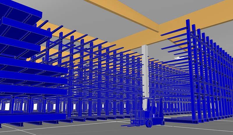 Mittels einer Simulation des späteren Betriebs und Flächenbedarfs ließ sich das Gebäude exakt auf die spätere Regalierung und den Maschinenpark ausrichten. Foto: Brüninghoff