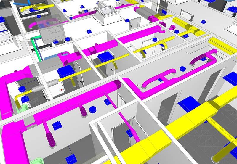 Bereits in der dritten Leistungsphase erfolgte die Integration der technischen Gebäudeausrüstung. Das 3D-Modell mit Kollisionsprüfung vereinfachte hier besonders das Erkennen von Planungsdifferenzen zwischen den unterschiedlichen Gewerken. Foto: Brüninghoff