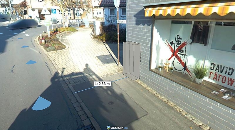 Wie Fibre3D die Glasfaserplanung erleichtert: In 3D lässt sich die genaue Position der Netzverteilerkästen bestimmen, ausmessen und als Fotomontage dem Genehmigungsantrag beifügen. Bild: Telekom