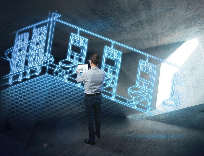 Planer erhalten mit dem Geberit BIM Catalogue Plug-in Zugriff auf die aktuellen Daten aller Produkte aus dem Geberit Produkt-Informations-System STEP.