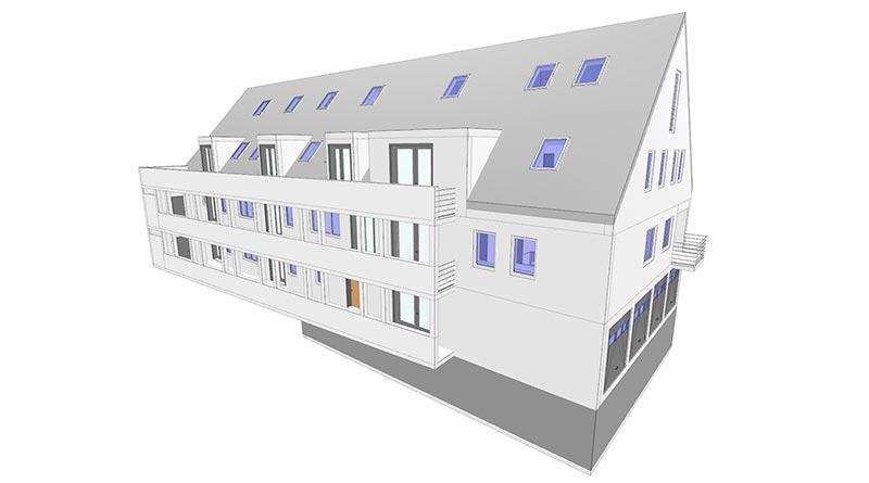Das Modell eines Mehrfamilienhauses dient als Referenzprojekt für das Forschungsvorhaben. Modell: LIST Digital